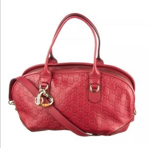 GUCCI Red Guccissima Heart GG Charm Satchel Bag
